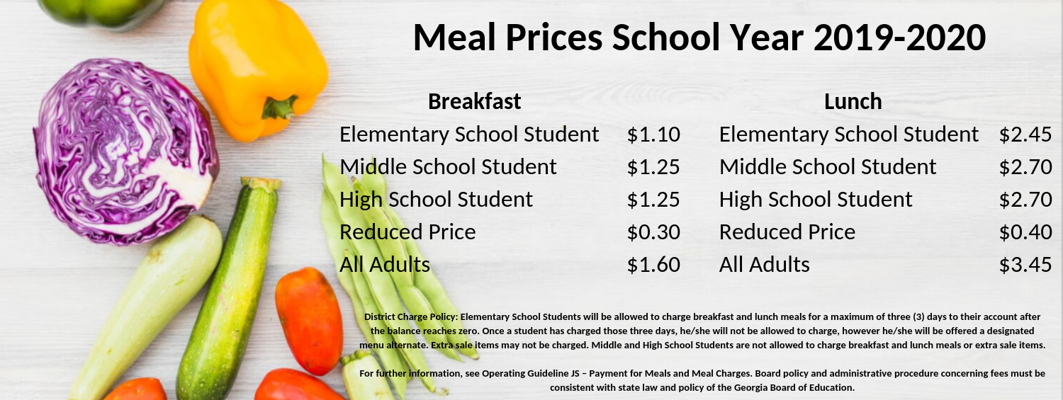 Fulton County School Nutrition Meal Prices School Year 2019-2020