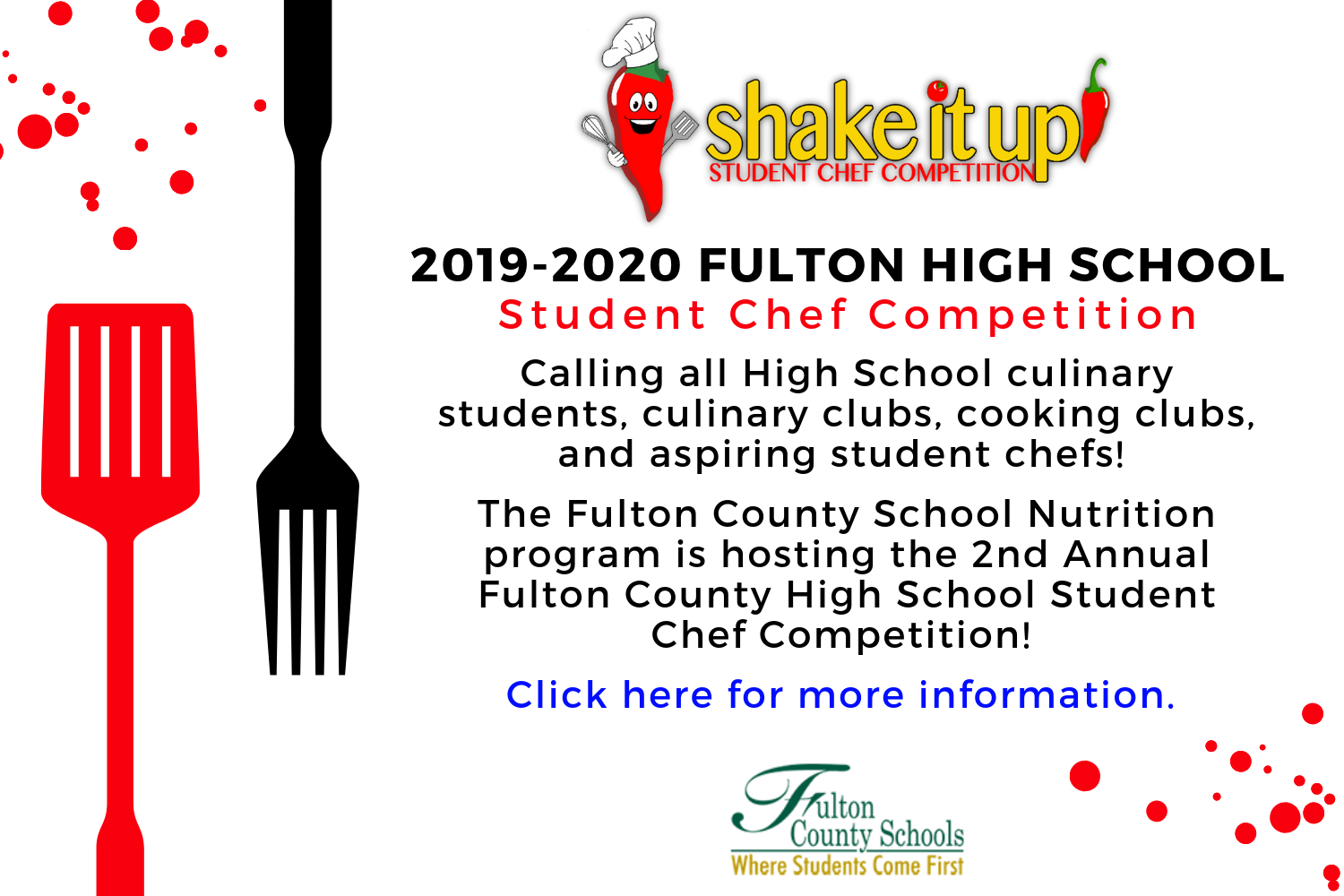 2019 - 2020 Fulton County High School Student Chef Compation. Click here for more information